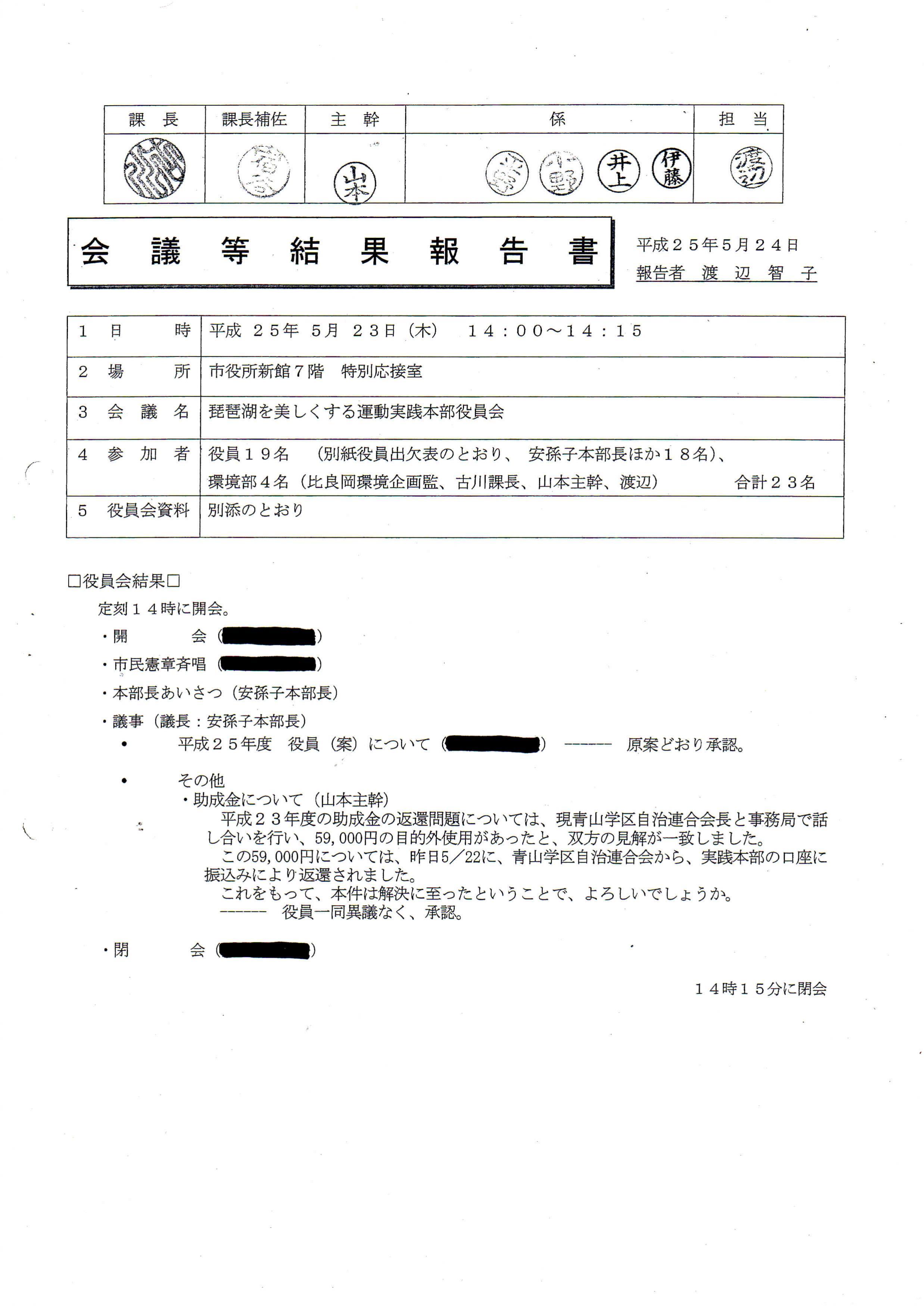 琵琶湖を美しくする運動実践本部/会議等結果報告書(2013.5/23役員会)_01