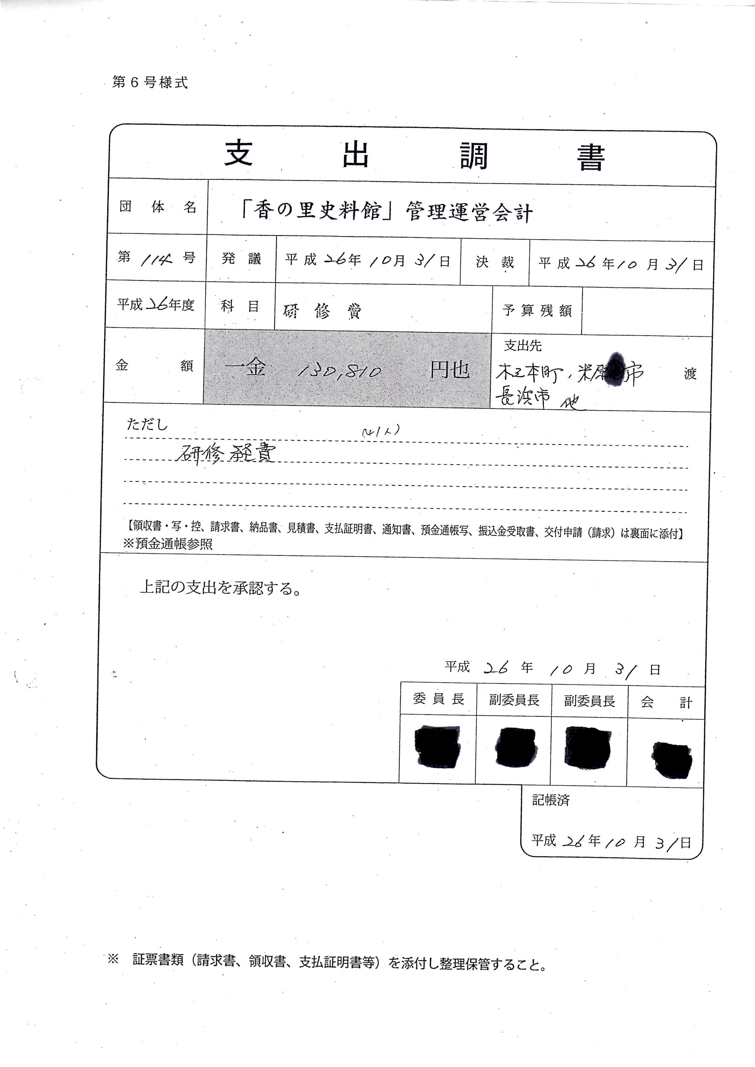 香の里史料館/支出調書(研修費)