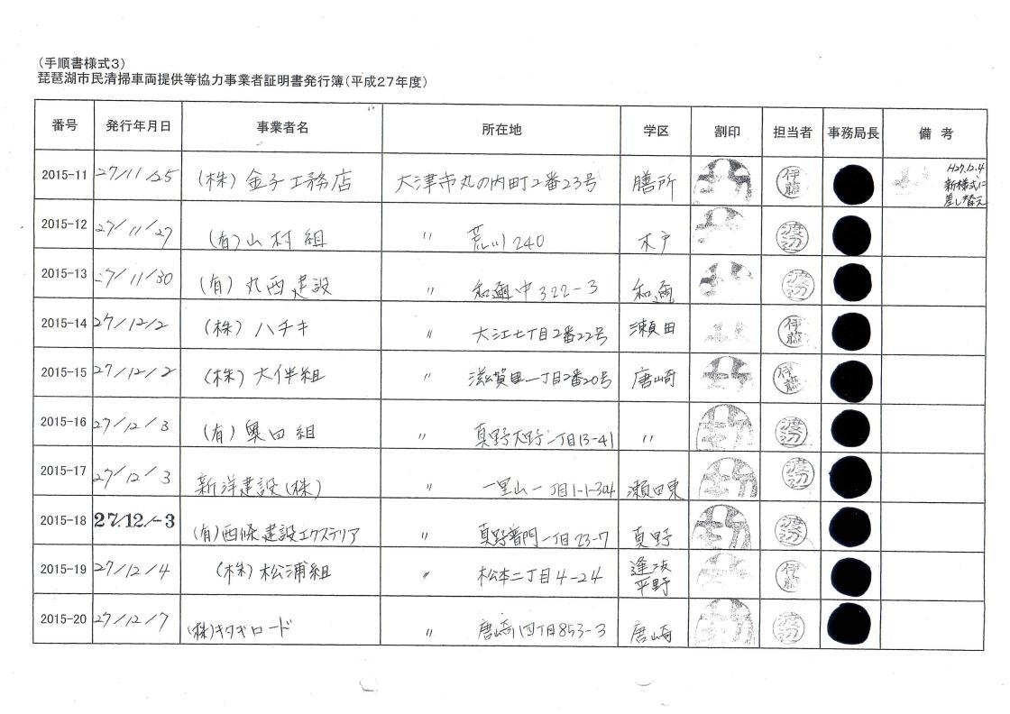 平成27年度琵琶湖市民清掃/協力証明書/市の総合評価方式で加点/業者一覧②_01